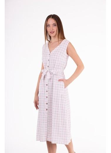 Stamina  Bayan Çift V Yaka Kolsuz Elbise-5KTE7 Pembe